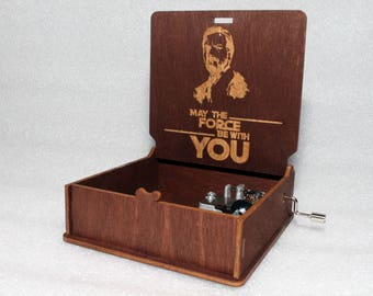 """Obi Wan Kenobi - May The Force Be With You - Engraved Wooden Music Box - """"Star Wars Theme""""- Jedi Sith Darth Vader - Hand Crank Movement"""
