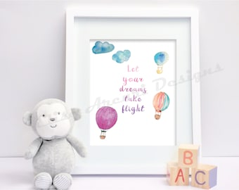 Let your dreams take flight Nursery Print Pink