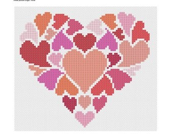 PDF Heart of Hearts cross stitch embroidery Pattern// Hearts cross stitch Pattern