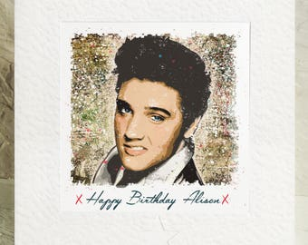 Personalised Elvis Presley Birthday card Handmade framed picture card The king rock and Roll