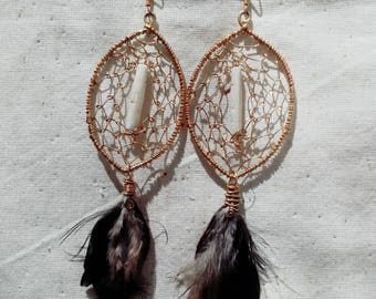 Catcher earrings | Peacock feather | pieces of bone and skin