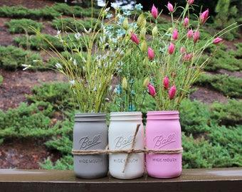 Tri Colored Mason Jars