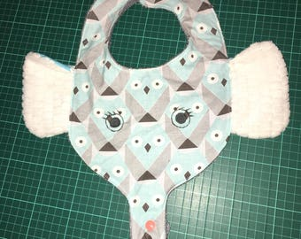 bib elephant with trunk that allows to hang teething ring or pacifier