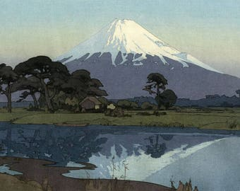 "Japanese Art Print ""Suzukawa""  Yoshida Hiroshi, woodblock print reproduction, Japan, cultural art, landscape, oceanside, Mt Fuji, reflection"