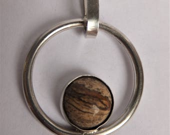 Handmade Silver Pendant with Picture Jasper gemstone
