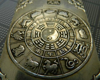 Large Cast Antiqued Tibetan Silver 2 Sided Chinese Zodiac & Bat Blessing Waist Pendant - Harmony, Good Fortune and Happiness Amulet