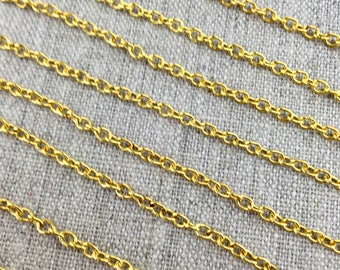 Light Gold Colored Curb Chain, 3 mm X 3 mm, Choose Your Length, 10 25 50 100 FT, Jewelry Making Supplies, Destash