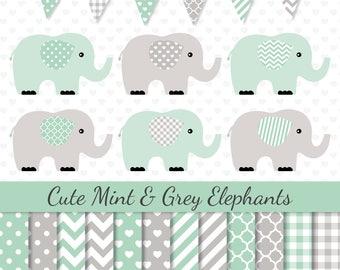 Elephants Clipart Mint Grey Elephants Clip Art Mint Digital Paper Baby Shower Clipart Nursery Art