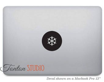 Snowflake Macbook Decal / Snowflake Sticker / Snowflake Decal / Snowflake Icon Sticker - Laptop Notebook Round Circle Removable Vinyl - T032