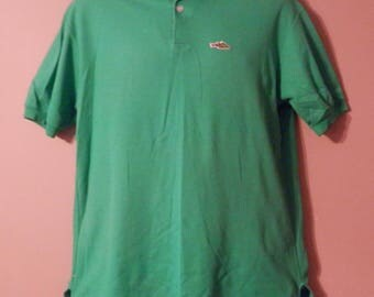 VINTAGE 80's Mens Sears Dragon Polo Shirt Size Large Green Fire Breathing Dragon