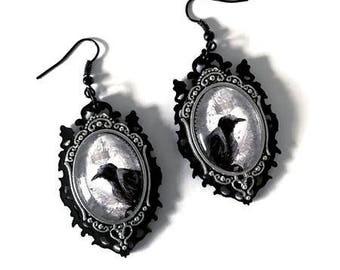 Raven Cameo Earrings