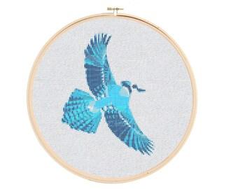 Geometric Cross Stitch Pattern - Blue Jay Cross Stitch Pattern - Bird Cross Stitch Pattern - Cross Stitch Bird - Flying Bird Cross Stitch