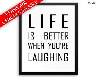 Laughing Canvas Art Laughing Printed Laughing Typography Art Laughing Typography Print Laughing Framed Art Laughing black and white advice