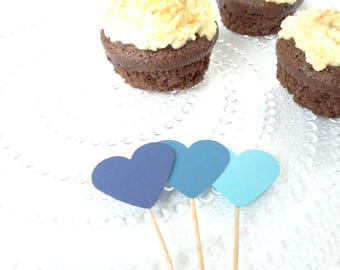Blue Cupcake Toppers - Blue Baby Shower - First Birthday
