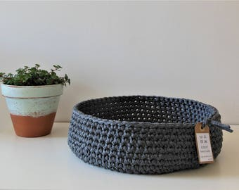 empty pockets, large basket, cotton, crochet, anthracite, home decor, furniture, storage, children, zPagetti cesta games, round