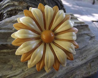 Vintage large enamel flower brooch - 2 1/2 inches