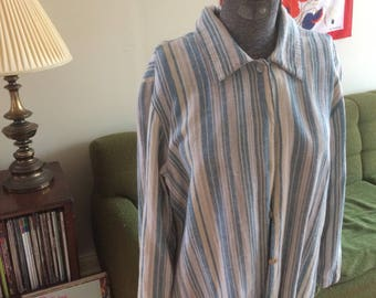 70's Striped Button Up