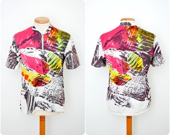 vintage CYCLING JERSEY by Löffler / mens size 52 L large / 80s-90s neon /  short sleeve T-shirt top