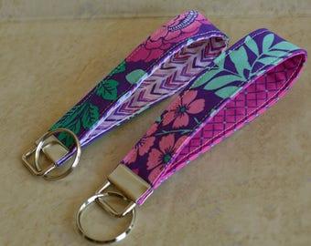 CUSTOM MADE Purple/Pink/Mint Floral, Keychain, Key Fob, Wristlet Keychain, Wristlet Key Fob