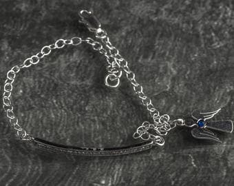925 sterling silver cubic zirconium rod link and angel charm chain bracelet