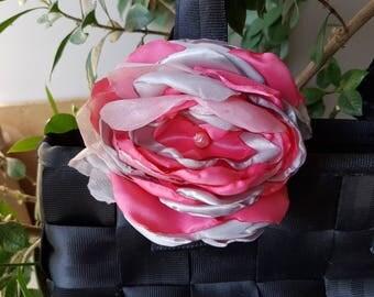 Satin flower rosette for a Harveys seatbelt bag