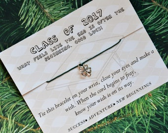 Class of 2017, Graduation Gift,Wish Upon Your Wrist, Wish Bracelet, 4 Leaf Clover Bracelet, Good Luck Bracelet, Graduation Present, Anklet