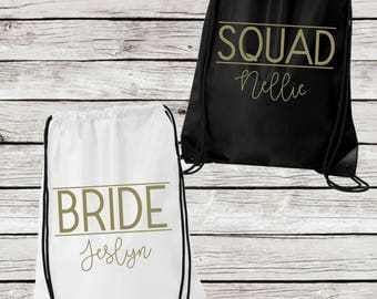 Personalized Bridesmaids Tote Bags, Bride or Squad Drawstring Tote Bags, Personalized Bridesmaid Gift