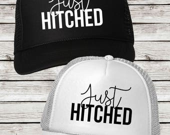 Just Hitched Honeymoon Trucker Caps for Newlyweds, Just Hitched Trucker Hats for Couples
