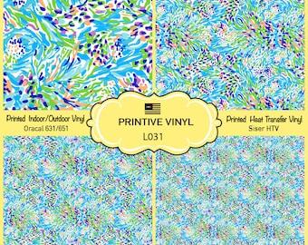 Lilly P Inspired Pastel Camo Pattern Printed Vinyl, Siser HTV , Oracal 631-651, Indoor Vinyl, Outdoor Vinyl, Heat Transfer Vinyl- L031