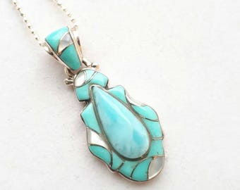 LARIMAR INLAY PENDANT