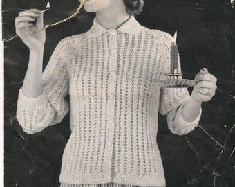 Vintage knitting pattern for a bed jacket 1950s DK