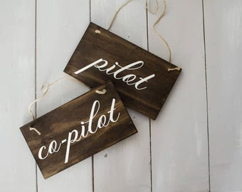 Pilot & Co-Pilot Chair Decor  / Rustic Wedding Decor / Wedding Chair Decor / Wedding Gift /  Wedding Signs / Mr and Mrs chair signs