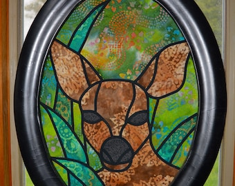 Faux Stain Glass Doe in Frame