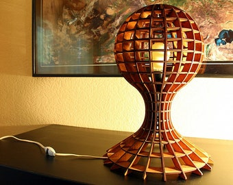 Elegant Lamp in the form of a ball of wood