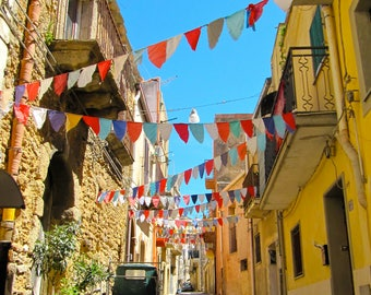 Italian Photography, Colourful Bunting, Charming Street in Celebration, Caltagirone, Sicily