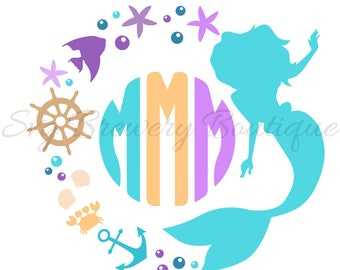 Mermaid monogram frame SVG (layered), PNG, DXF format cricut, silhouette studio, vinyl decal, t shirt design, scrapbooking, stencil template
