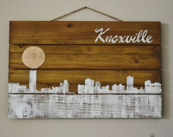 Knoxville Cityscape Sign, Wooden Sign, Knoxville Art, Knoxville Skyline, Knoxville TN, Knoxville City, Wooden Signs, Wood Sign, Wood Signs
