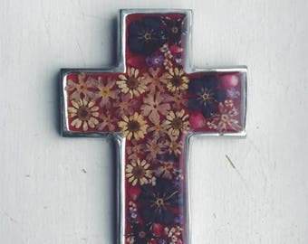 Alpaca Silver Resin with Dried Flowers Cross