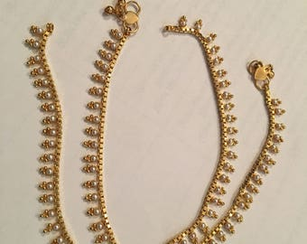 Indian Bollywood Anklet (White Pearl with cute styling)