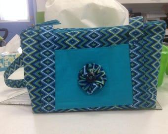 handmade fabric purse, zippered closure