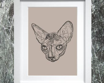 Sphinx Cat Line A4 Print