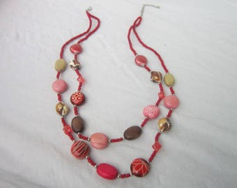 Vintage Wild & Crazy 60's Style Double Strand Beaded Necklace