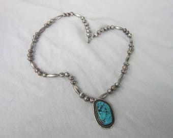 Antique Native American Sterling Silver Necklace with  Large Turquoise Pendant
