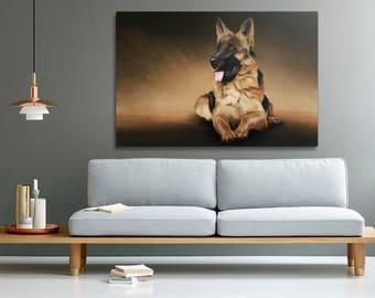 German shepherd print on canvas