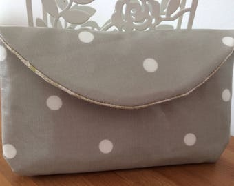Handmade Cream spotted large purse