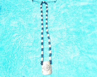 Black/Gray Beaded Pendant Necklace
