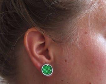 Button earrings green glitters | stud earrings