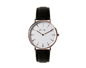 Ladies and Girls Black Leather Strap Watch Rose Gold Case White Face Round Watch 38mm Diameter Quartz Movement 18mm Strap