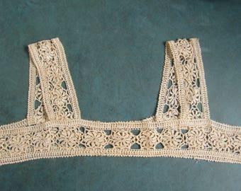 "Vintage Hand Crochet Yoke Night Gown Dress Blouse Top 32"" Round 7"" Shoulder to Bottom Repurpose"