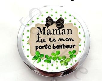 Cabochon gift MOM - black-green Pocket mirror